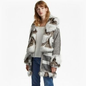 NWT French Connection NOEMI FAUX FUR TRIM COAT